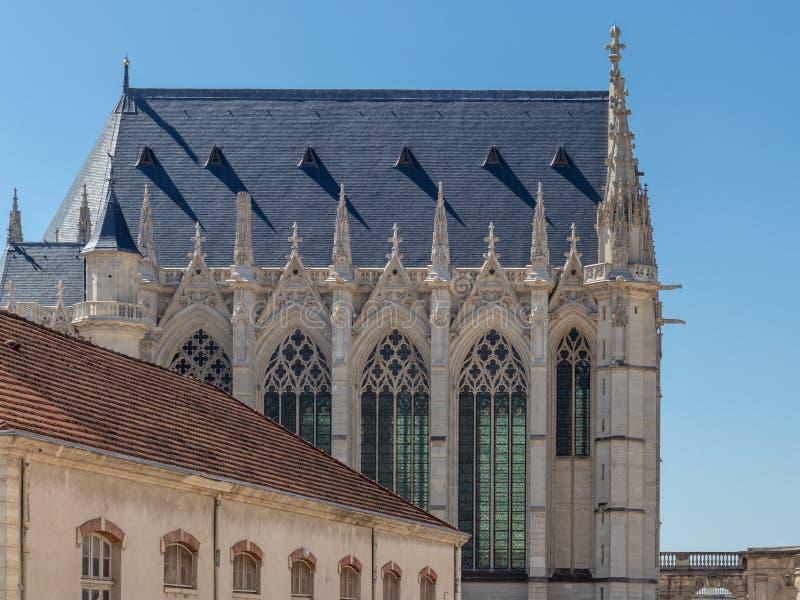 Saint-Chapelle and Pavillon du Genie near Paris, France. View of Saint-Chapelle and Pavillon du Genie in Vincennes castle, Chateau de Vincennes, village near stock image