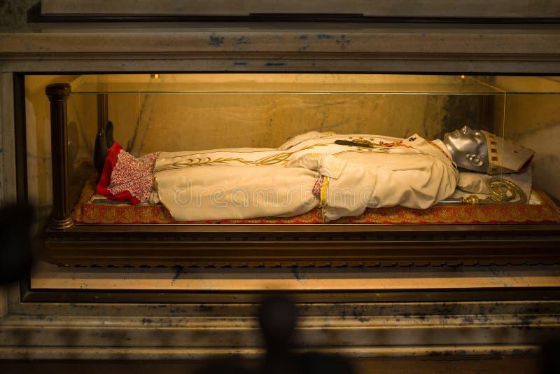 The body relics of St. Charles Carlo Borromeo, Duomo di Milano. stock image