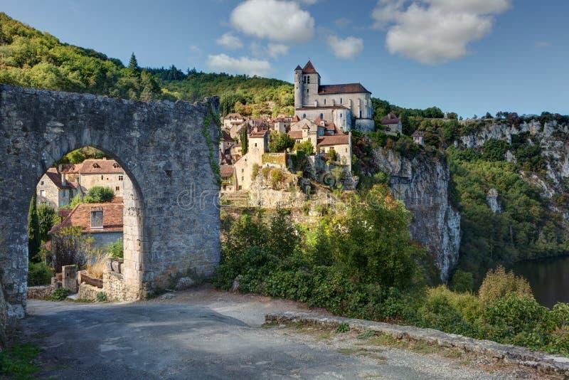 Saint-Cirq-Lapopie - France de sort photo stock