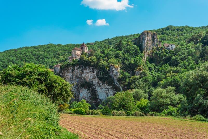 Saint Cirq Lapopie no lote, França foto de stock