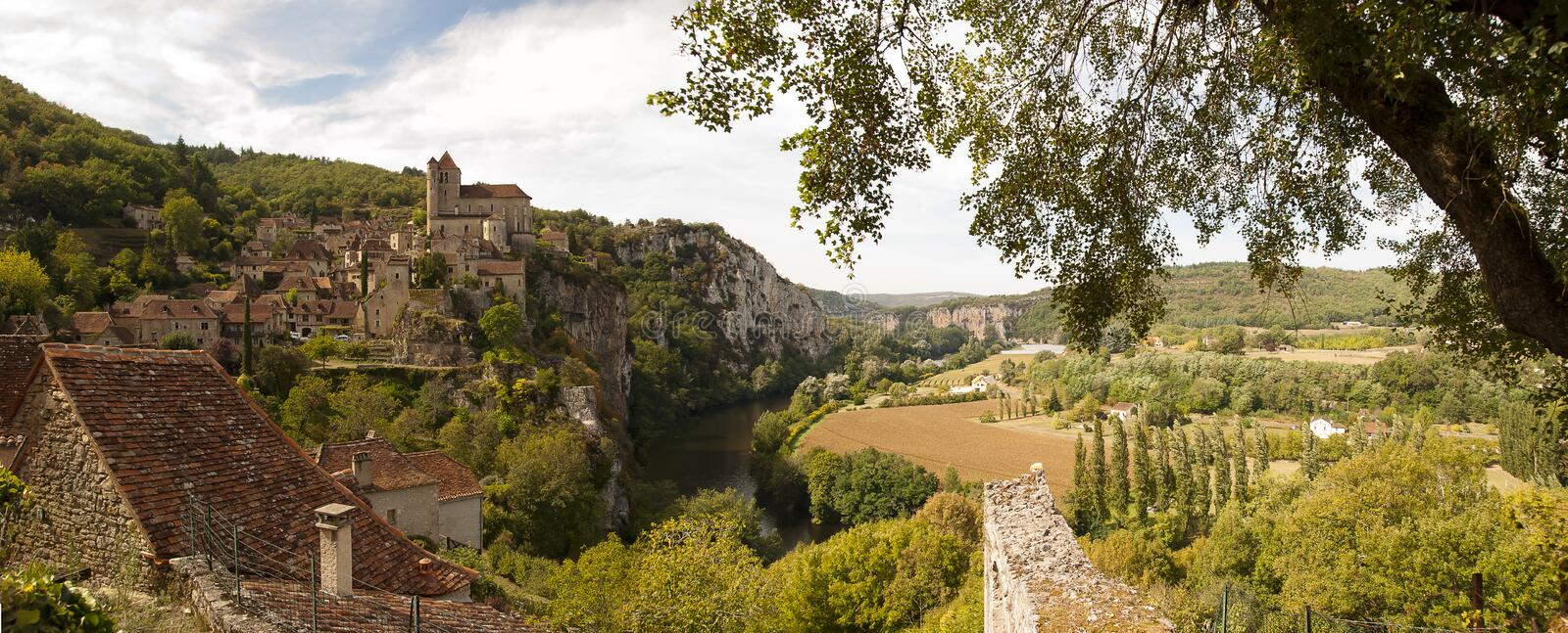 Saint-Cirq-Lapopie in Panoramic view France royalty free stock image