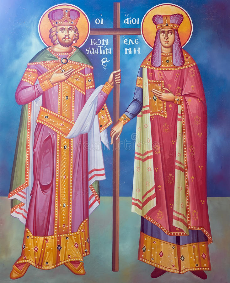 Saint Constantine and Helen fresco from an old Greek Orthodox church stock photo