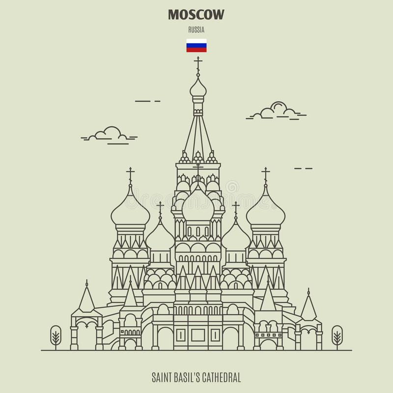 saint de Moscou Russie de cath?drale de basilic Ic?ne de point de rep?re illustration libre de droits