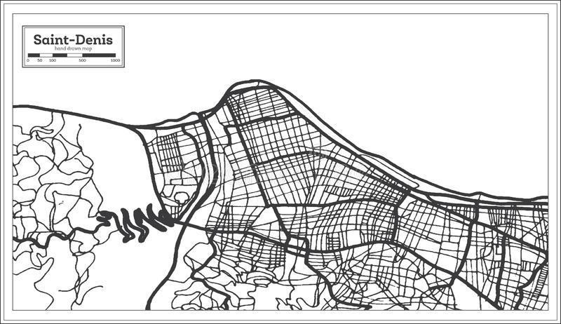 Saint Denis Reunion City Map iin Black and White Color. Outline Map vector illustration