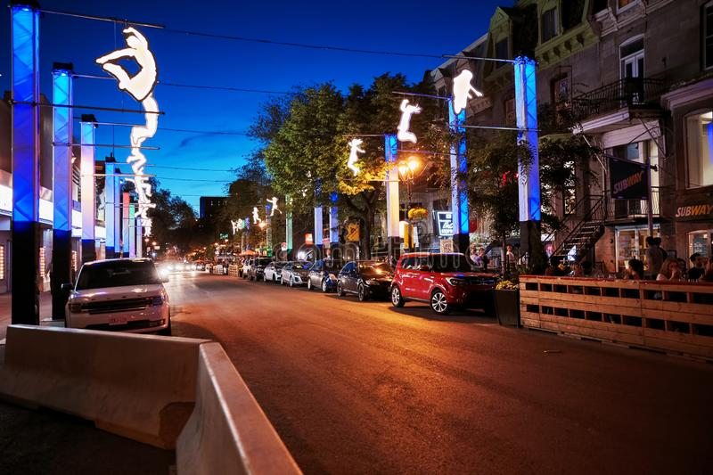 Saint denis street rue st. denis at night. Famous landmark called as the heart of Montreal in Quebec, Canada stock photo