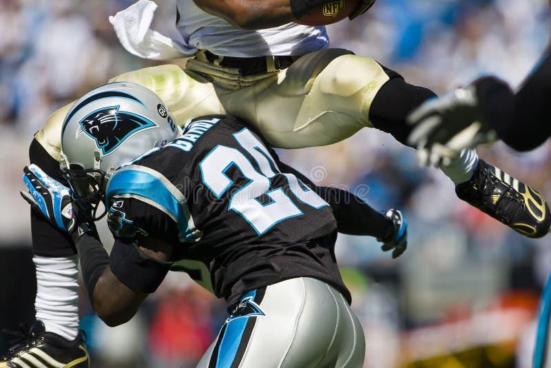 Saint do NFL Nova Orleães contra panteras de Carolina fotografia de stock