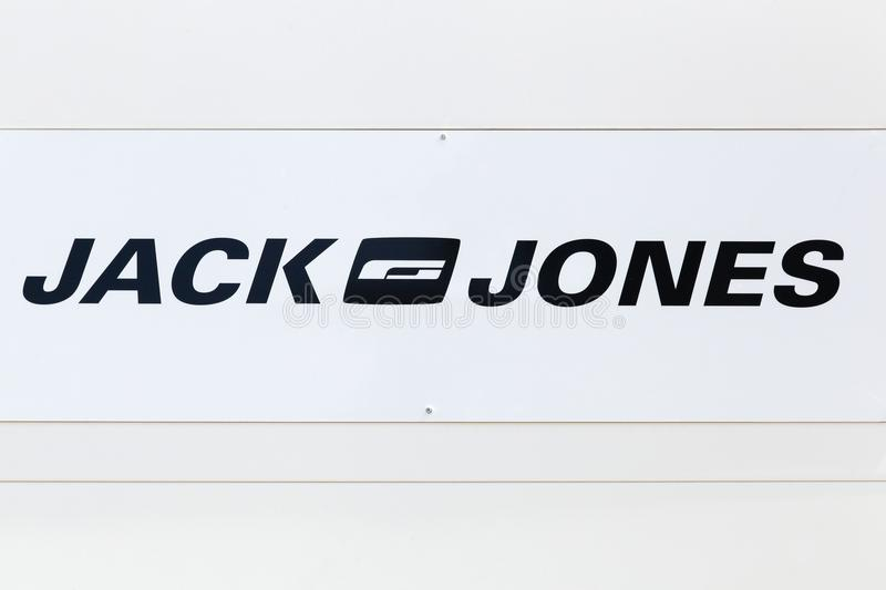 Jack and Jones logo on a wall. Saint Egreve, France - June 25, 2017: Jack and Jones logo on a wall. The Jack and Jones brand is sold in approximately 2,000 stock photos