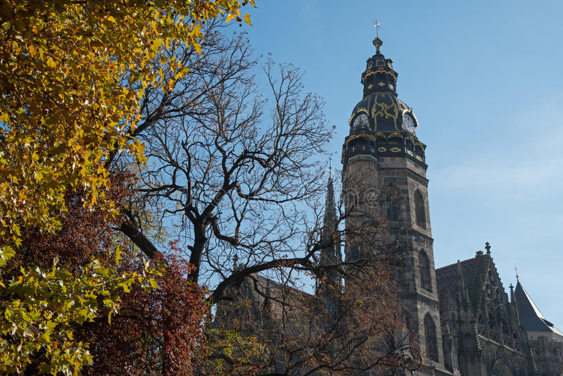 Saint Elisabeth Cathedral and autumn trees. Saint Elisabeth Cathedral (Koshice, Slovakia) in autumn season. Yellow tree is in foreground, blue sky - in stock photos