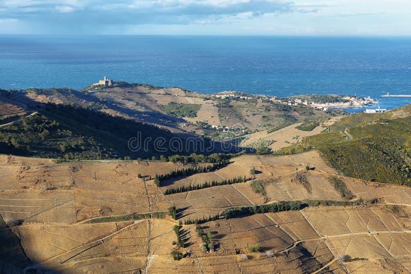 Saint Elme, Pyrénées Orientales, le Comté de Roussillon, France de fort images stock