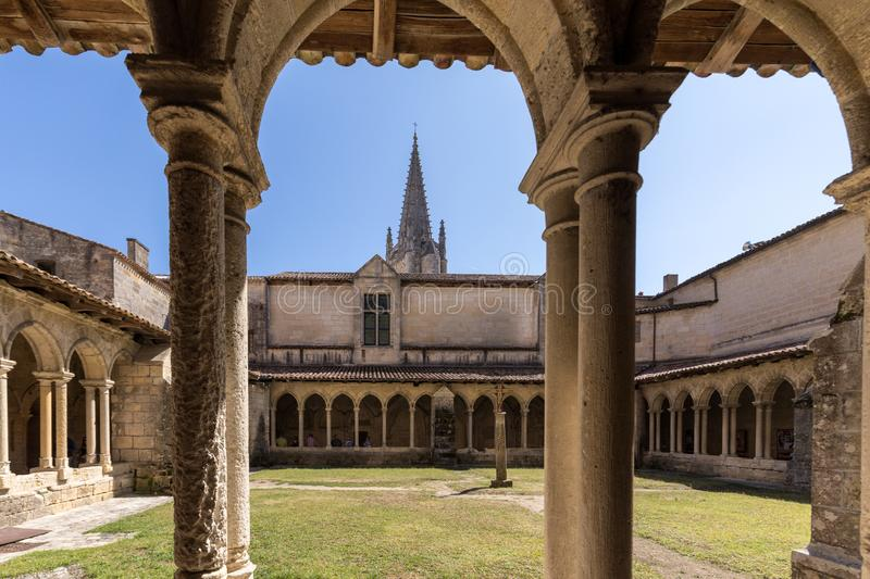 Medieval French Cloisters at the Collegiale church of Saint Emilion, France. Saint Emilion, France - September 8, 2018: Medieval French Cloisters at the royalty free stock photo