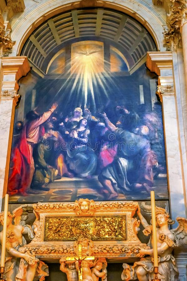 Saint-Esprit Santa Maria Salute Church Venice Italy de descente de Titian photo stock