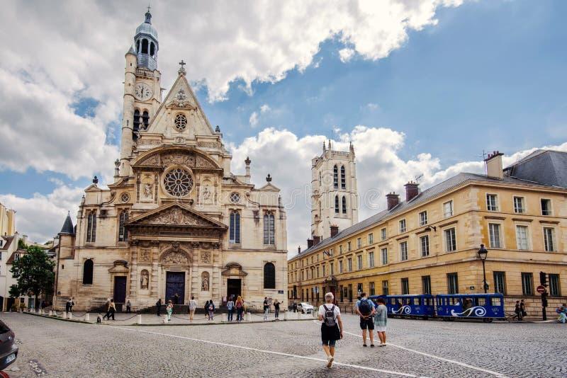 Saint-Etienne du Mont Church View stock foto's