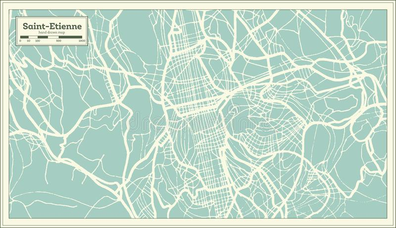 Saint-Etienne France City Map in Retro Style. Outline Map vector illustration