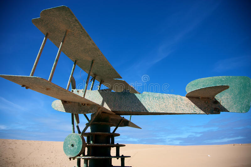 Saint exupery memorial. Green plane on a green brick construction with blue sky, memorial to Saint-Exupery stock images