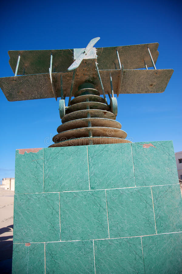 Saint exupery memorial. Green plane on a green brick construction with blue sky, memorial to Saint-Exupery stock image