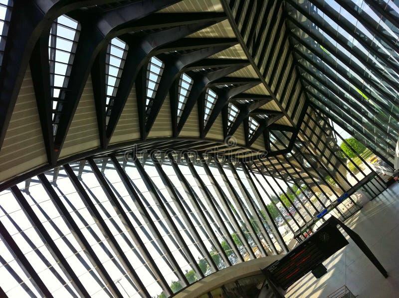 The Saint-Exupery Station. The Saint-Exupery TGV train station in Lyon designed by the Spanish architect Santiago Calatrava stock photos