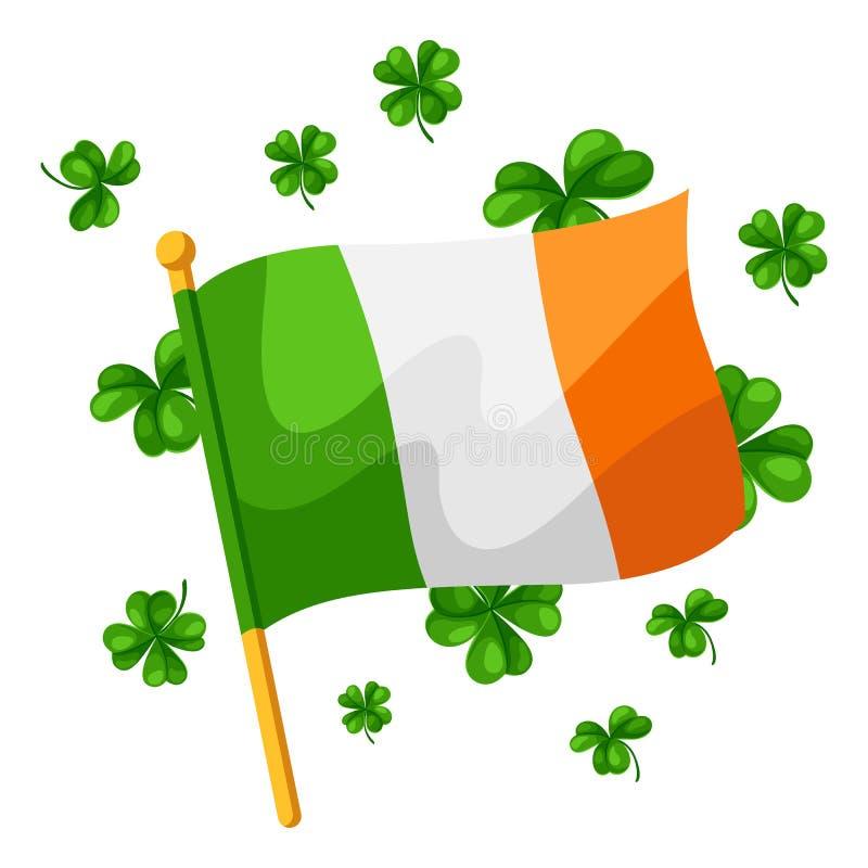 saint för dagillustrationpatricks Irländsk flagga med växt av släktet Trifolium vektor illustrationer