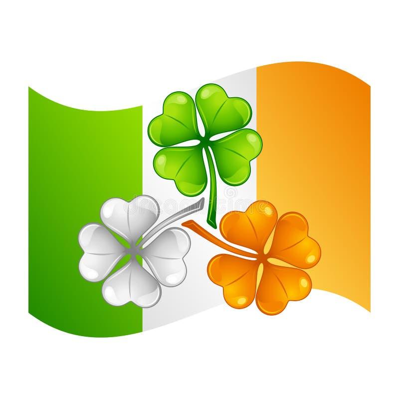 saint för dagillustrationpatricks Irländsk flagga med växt av släktet Trifolium stock illustrationer