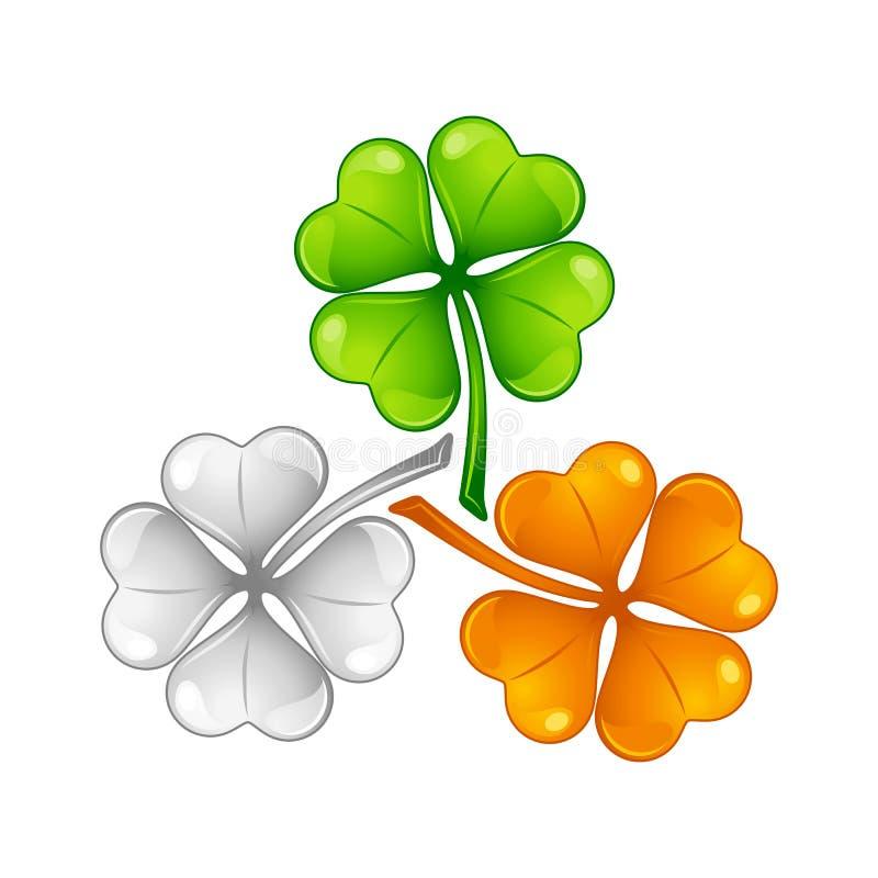 saint för dagillustrationpatricks Irländsk flaggaväxt av släktet Trifolium stock illustrationer