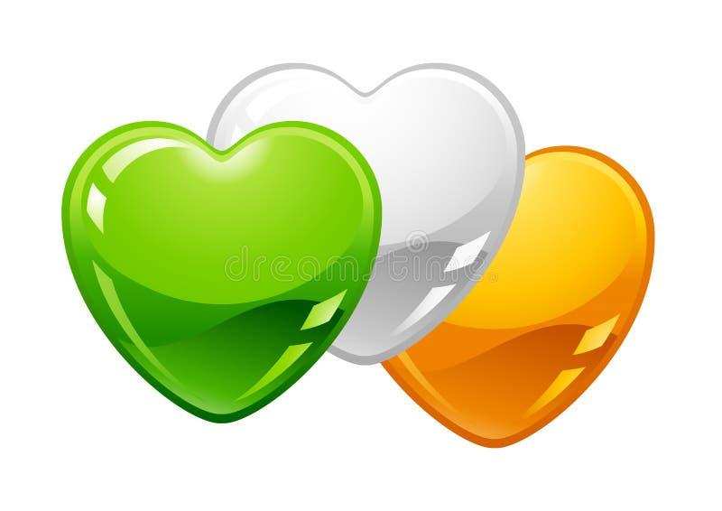 saint för dagillustrationpatricks Irländska flaggahjärtor royaltyfri illustrationer