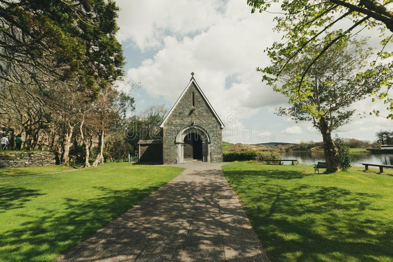 Saint Finbarr`s Oratory, a chapel built on an island in Gougane Barra, a very serene and beautiful place in county Cork. April 30th, 2018, Gougane Barra stock image