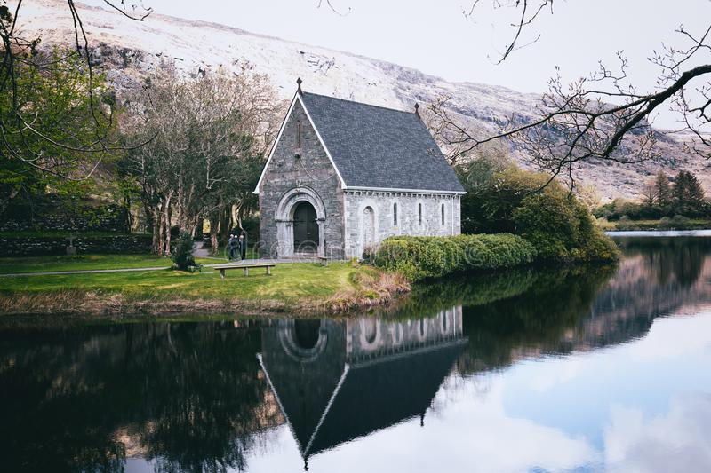 Saint Finbarr`s Oratory, a chapel built on an island in Gougane Barra, a very serene and beautiful place in county Cork. April 30th, 2018, Gougane Barra stock photography