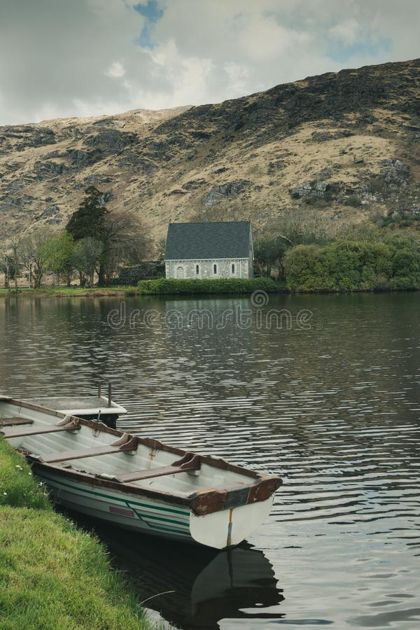 Saint Finbarr`s Oratory, a chapel built on an island in Gougane Barra, a very serene and beautiful place in county Cork. April 30th, 2018, Gougane Barra stock photos