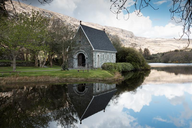Saint Finbarr`s Oratory, a chapel built on an island in Gougane Barra, a very serene and beautiful place in county Cork. April 30th, 2018, Gougane Barra stock photo