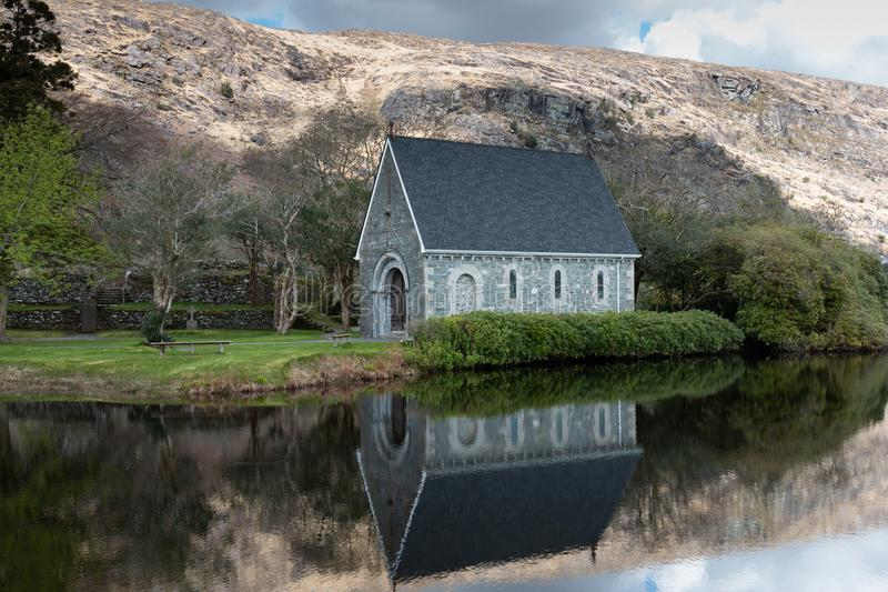 Saint Finbarr`s Oratory, a chapel built on an island in Gougane Barra, a very serene and beautiful place in county Cork. April 30th, 2018, Gougane Barra royalty free stock photo