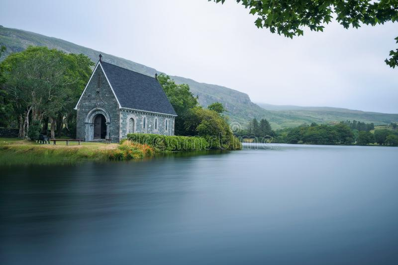 Saint Finbarr`s Oratory chapel in county Cork, Ireland. Built on an island in the Gouganebarra Lake. Long exposure stock photos