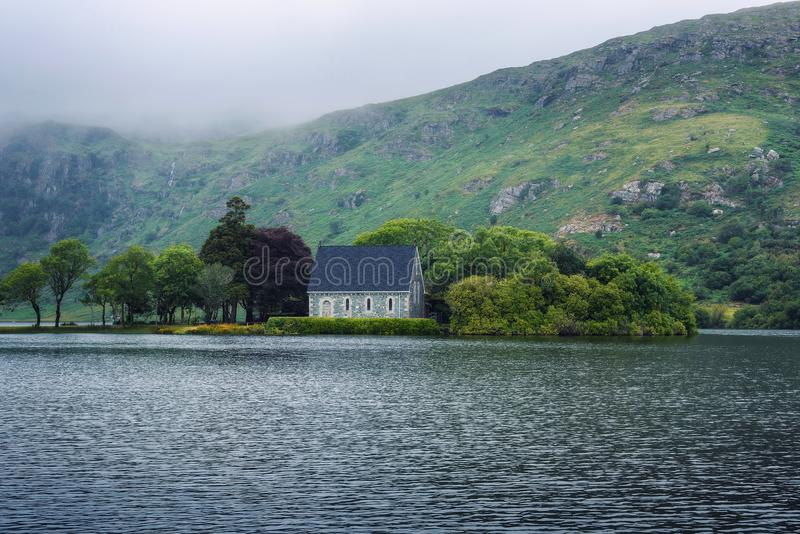 Saint Finbarr`s Oratory chapel in county Cork, Ireland. Built on an island in the Gouganebarra Lake stock image