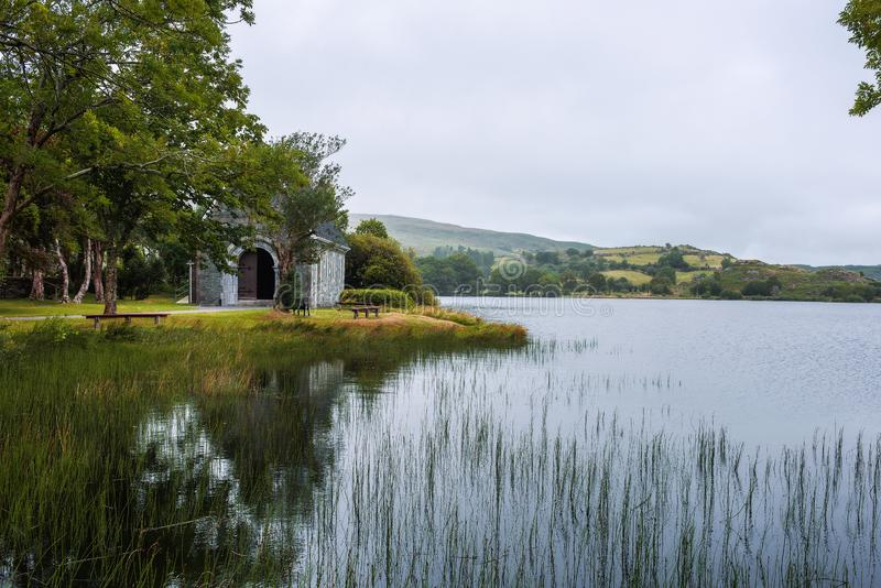 Saint Finbarr`s Oratory chapel in county Cork, Ireland. Built on an island in the Gouganebarra Lake stock photos