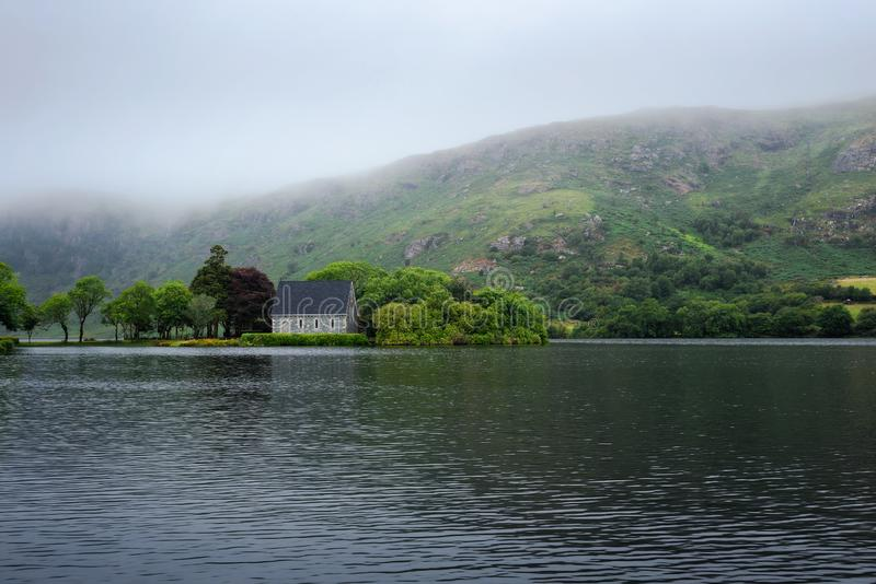 Saint Finbarr`s Oratory chapel in county Cork, Ireland. Built on an island in the Gouganebarra Lake stock photography