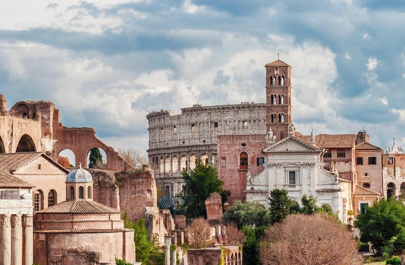 Saint Frances of Rome with Coliseum royalty free stock photography