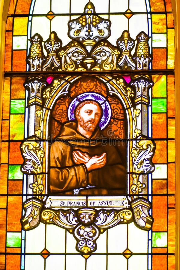 Saint Francis of Assisi Stained Glass Window stock images