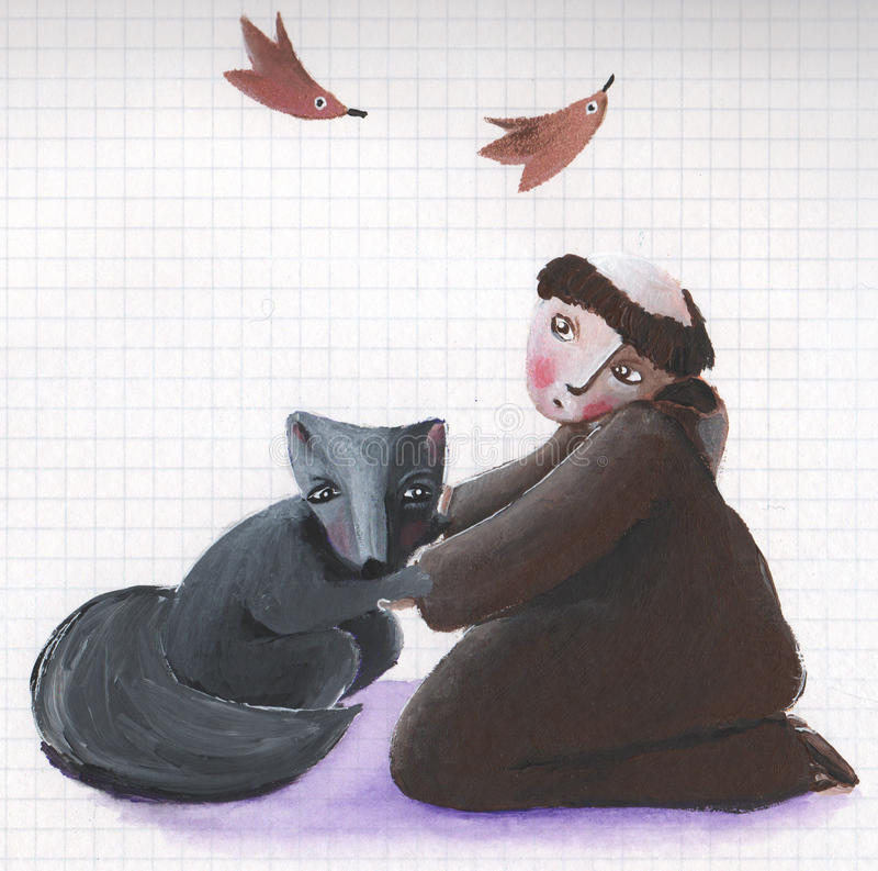 Download Saint Francis And Brother Wolf Stock Illustration - Image: 24977780