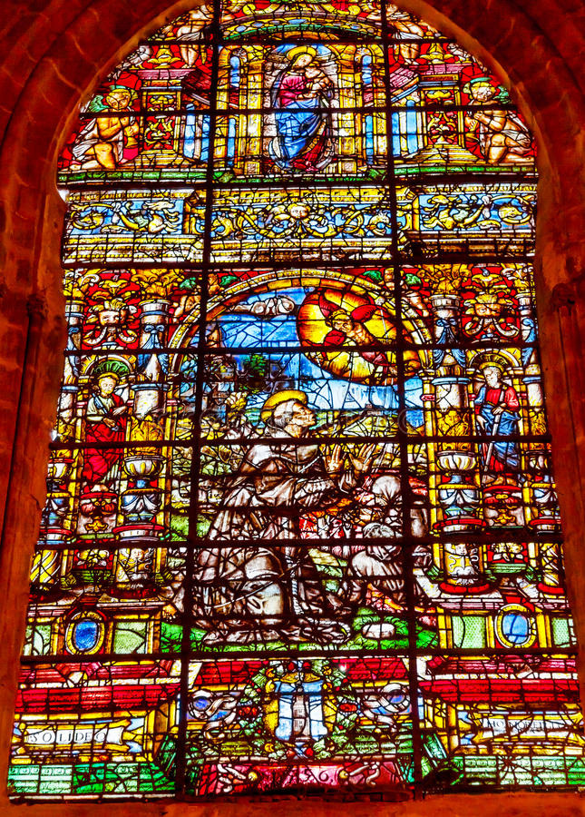 Saint Francis Stained Glass Seville Cathedral imagem de stock