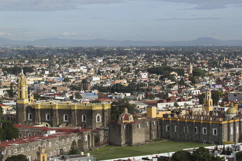 Saint Gabriel Church. Panoramic view of Cholula. Saint Gabriel Monastery can be seen in the foreground stock image