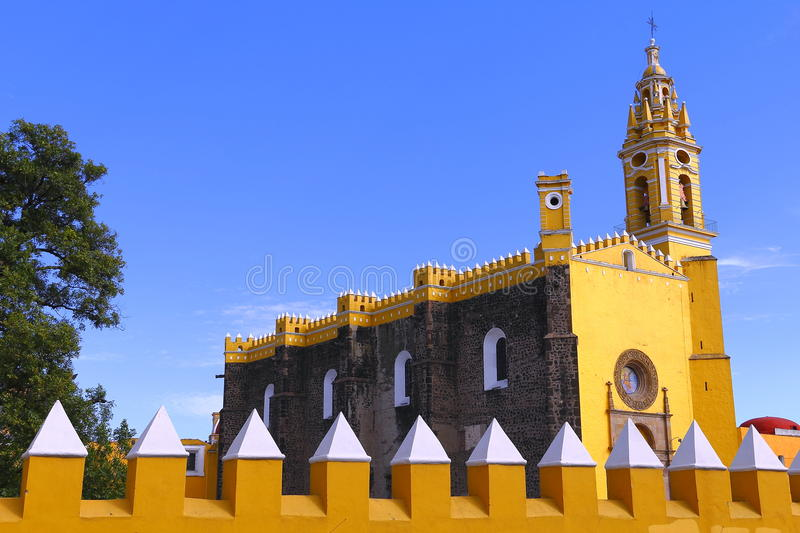 Saint Gabriel convent IV. Franciscan friary of saint Gabriel Archangel, city of cholula, mexican state of puebla stock image