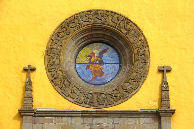 Saint Gabriel convent IX. Facade detail of the franciscan friary of saint Gabriel Archangel, city of cholula, mexican state of puebla stock photo
