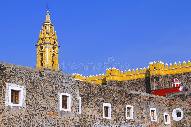 Saint Gabriel convent XVII. Franciscan friary of saint Gabriel Archangel, city of cholula, mexican state of puebla royalty free stock photo