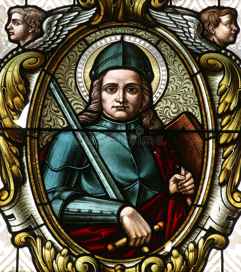 Saint George. Stained glass, church window stock photos
