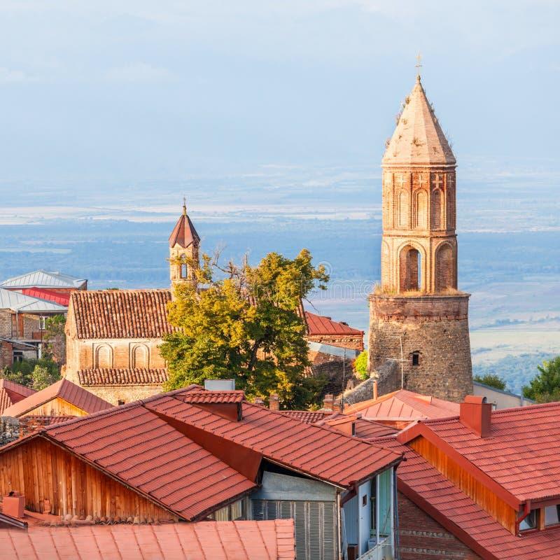 Sighnaghi city centre. Saint George Church in Sighnaghi, Kakheti region of Georgia royalty free stock photo