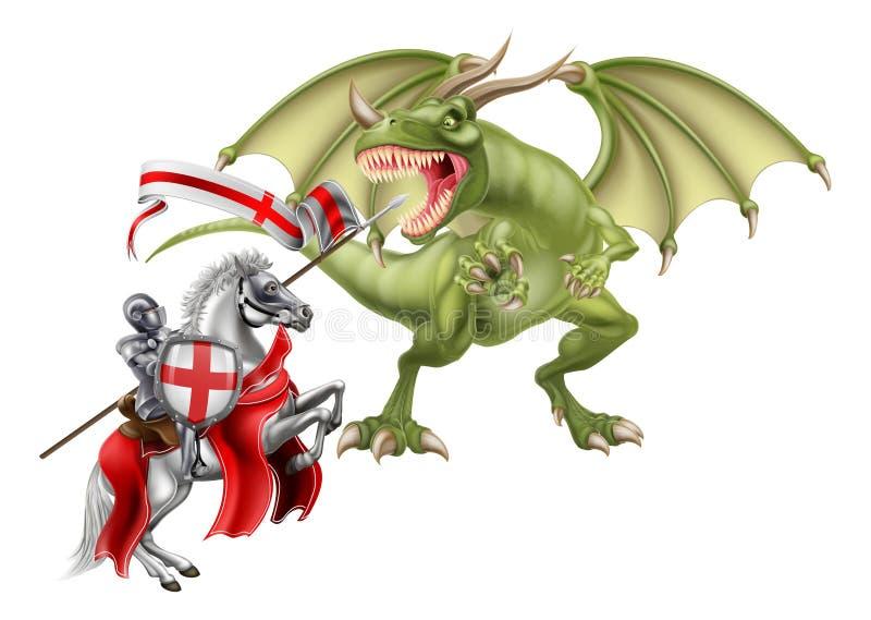 Saint George Fighting o dragão ilustração royalty free