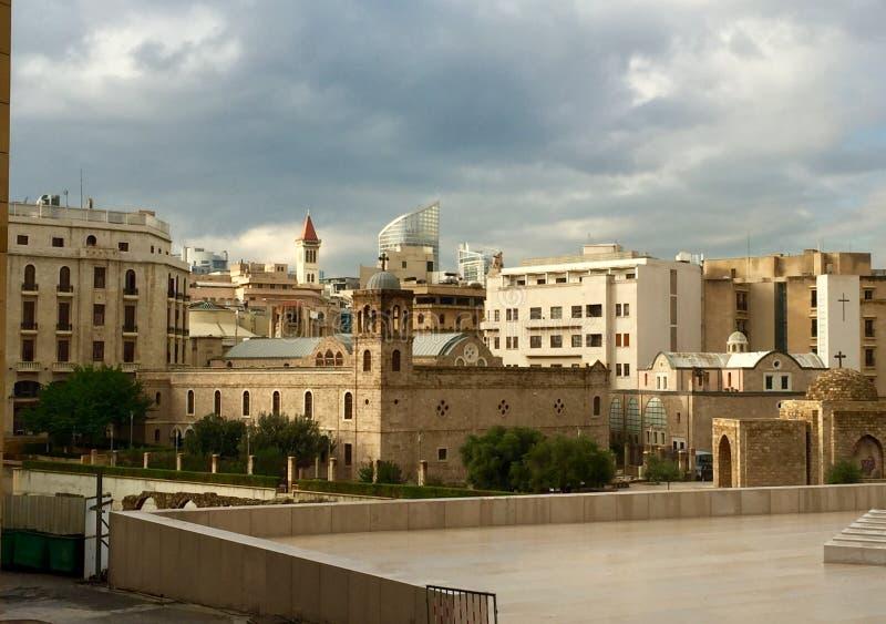 Saint George Greek Orthodox Cathedral, Beyrouth, Liban Vue de la cathédrale de la place de Nejmeh photo stock