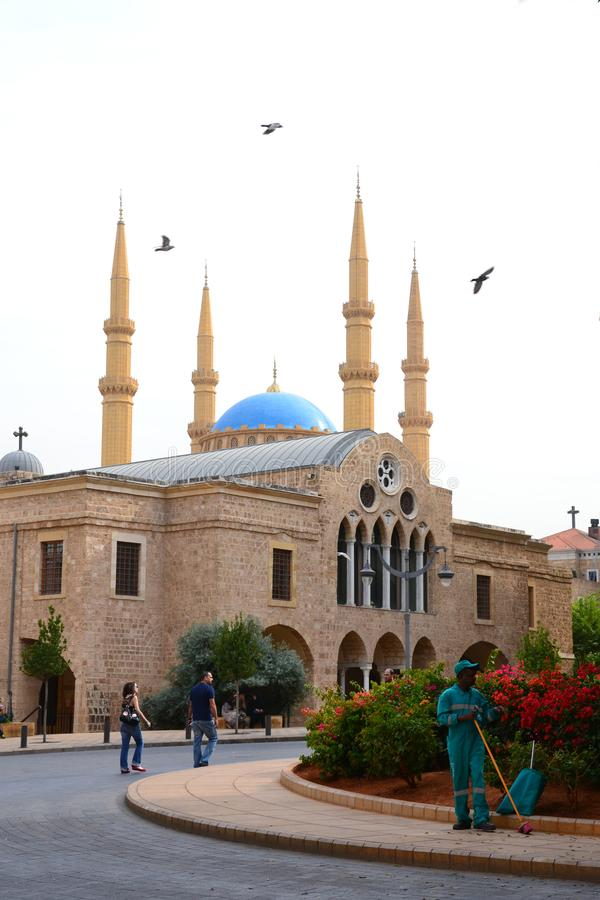 Saint George Greek Orthodox Cathedral and Mohammad Al-Amin Mosque stock image
