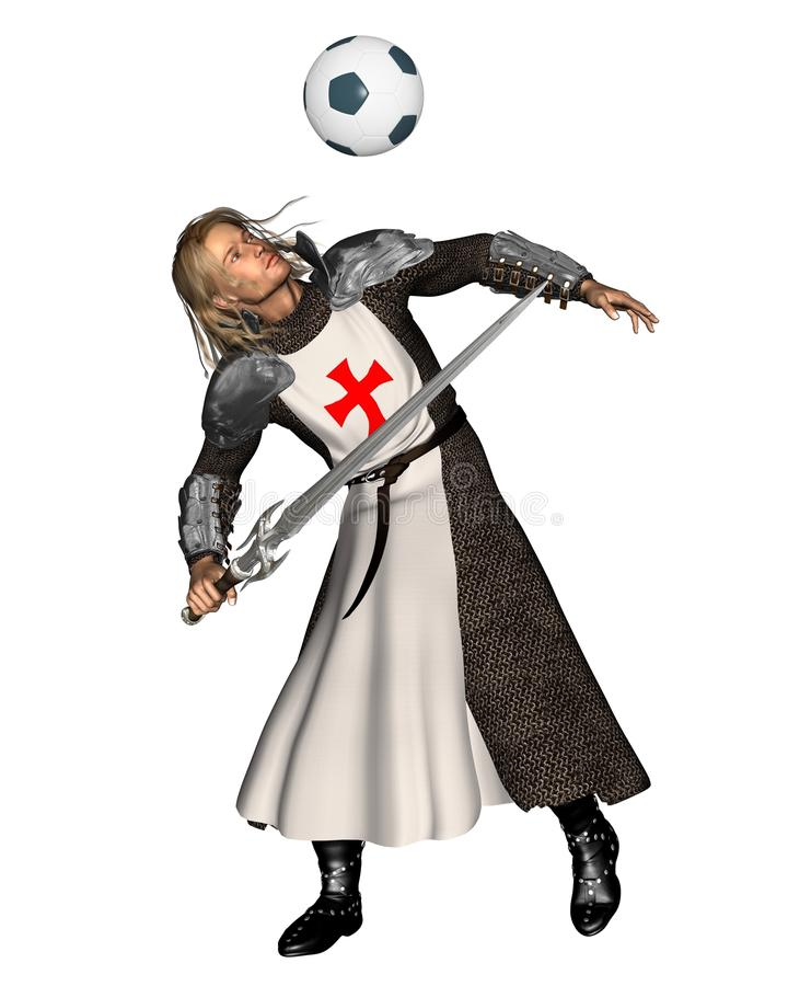 Saint George que dirige um futebol ilustração stock