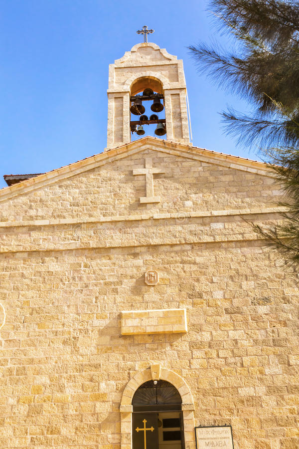 Saint George`s Church Bell Tower Madaba Jordan stock images