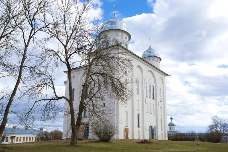 Saint Georges Cathedral in Saint Georges Monastery. Veliky Novgorod, Russia. Saint Georges Cathedral in Saint Georges Monastery on a cloudy April day. Veliky royalty free stock image