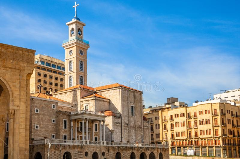Saint Georges Maronite cathedral in the center of Beirut, Lebanon. Architecture, asia, belief, building, capital, central, christian, christianity, church stock photo